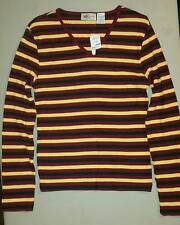 New: Ladies' large, burgundy/mustard/black striped long sleeve ribbed knit top