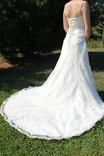 Maggie Sottero corset-back wedding gown A-line XS ivory lace silk 2 chapel train