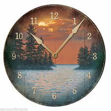 "NEW IN BOX 11"" WATER NARROW LAKE SCENE WALL CLOCK"