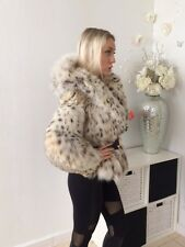 Dennis Basso $25,000 Genuine Lynx fur coat jacket with Hood Size S