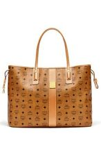 Authentic MCM 'Medium Liz' Reversible Shopper Handbag Purse Bag Tote Cognac