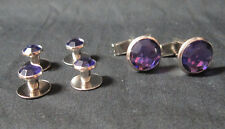 NEW Purple Silver Tuxedo Cufflinks Shirt Formal Studs Set Tux Cuff Links Buttons