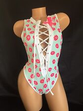 Exotic Dancer Stripper Sexy UV Glow Lips Lace Up Thong Romper Dancewear