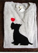 J Crew Intarsia Scottie Dog Sweater Scottish Terrier Scotty Puppy Red Heart S
