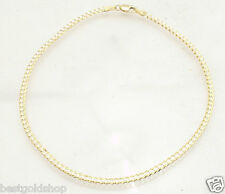 "10"" 2.5mm Ladies Solid Curb Link Ankle Bracelet Anklet Real 10K Yellow Gold"