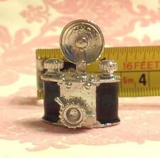 Dollhouse Miniature Black/Silver Classic Vintage Metal Camera Decor