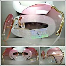 OVERSIZED VINTAGE RETRO Style SUN GLASSES Gold Rimless Frame Pink & Clear Lens