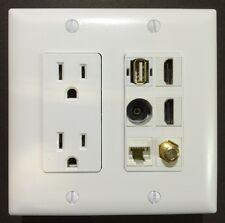 Duplex Power Outlet 1x CAT5 1x USB 1x Toslink 2x HDMI 1x F COAX Wall Plate White