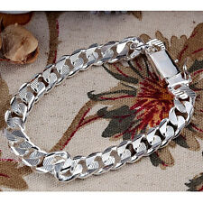 "925Sterling Silver Solid Silver 10MM Square Agraffe Men Chain Bracelet 8"" YH032"