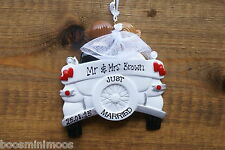 Personalised Family 1st christmas/xmas decoration - Wedding Car, newlyweds,
