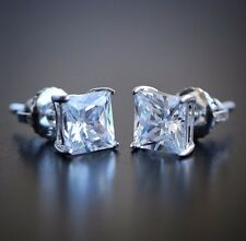 Sterling Silver Simulated Diamond Princess Cut Screw Back Stud Earrings