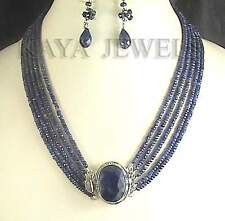 NATURAL BLUE SAPPHIRE 5 STRAND BEAD NECKLACE & EARRINGS FREE SHIPPING