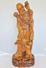 """16"""" Chinese Carved Wood or Boxwood SAU with Bats, Ruyi Scepter, Peach & Child"""