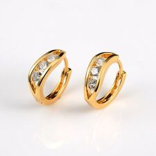 New Fashion Womens 18k Yellow Gold Filled Earrings 15mm Wedding Hoops Gift