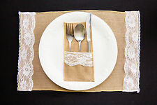 BULK! 6 X QUALITY BURLAP AND LACE JUTE HESSIAN RUSTIC VINTAGE WEDDING PLACEMATS!