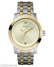 Guess Men's Silver Dial Silver Stainless-Steel Two-tone Watch U12604G2