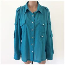 Womens Chico's Turquoise Striped Semi Sheer Long Sleeve Button Down Top Size 3