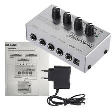 Ultra-compact MX400 Low Noise 4 Channels Line Mono Audio Mixer EU Plug L5H9