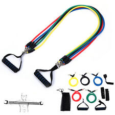 11PCS LATEX FITNESS RESISTANCE BANDS YOGA PILATES ABS WORKOUT TUBES ANKLE STRAP