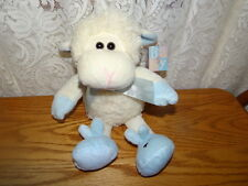 """NWT Baby Fiesta Fluffy Ivory Lamb with Blue Ribbon / Slippers 7"""" Plush Doll"""