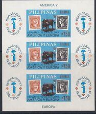 """Filipinas: 1977 """"Espamer 77"""" Sello Exposición M/hoja imperforado SG 1444 estampillada sin montar o nunca montada"""