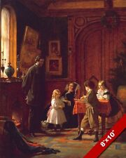 1800'S FAMILY AT CHRISTMAS TIME KIDS PLAYING TOYS PAINTING ART REAL CANVAS PRINT