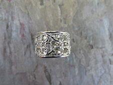 14KT White Gold Filigree Floral Design Wide Cigar Band Ring Special Order 2weeks