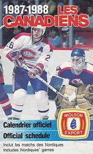 1987-88 MONTREAL CANADIENS HOCKEY POCKET SCHEDULE - FRENCH AND ENGLISH