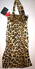 New Womens 2 NWT Italy Just Cavalli Leopard Print Dress 38 One Shoulder Stunning
