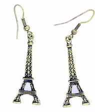 Vintage style bronze coloré Tour Eiffel dangle boucles d'oreilles
