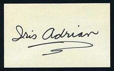 Iris Adrian DECEASED Actress Signed 3x5 Index Card X0430