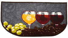 "Napa Wine Glasses and Grapes D Shape Polyester Slice Kitchen Rug - 18"" x 30"""