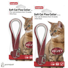 2 x Beaphar Soft Cat & Kitten Flea Collar - Red, Velvet