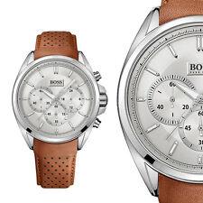 Hugo Boss 1513118 Silber Braun Edelstahl Herrenuhr Leder Armbanduhr