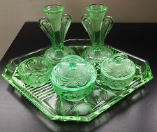 Decorative Art Deco Green Glass Ladies Dressing Table Vanity Set Candlestick Pot