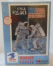 "NIB Colorforms 1000 Piece Postal Jigsaw Puzzle - $2.40 Moon Landing Stamp 23""X29"