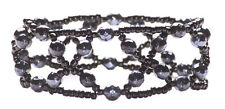 Gothic Gun Metal Crystal Black Beads Cross/ One Size Fits All Bracelet(Zx59/148)