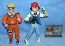 TOY LOT SET OF 3 NARUTO, ASH KETCHUM, POKEMON WORLD CHAMPIONSHIPS CARDS FIGURE
