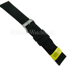 18mm Morellato Padded Stitched Genuine Cordura Canvas Black Watch Band Strap