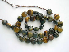 Yellow & Blue Tiger Eye coin beads 12mm