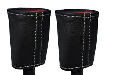 WHITE STITCH 2X FRONT SEAT BELT LEATHER COVERS FITS FORD MUSTANG 2005-2009