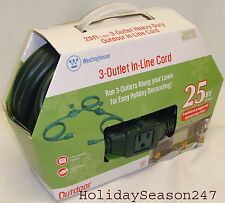 Westinghouse Outdoor 3 Outlet In-Line Green 25' Heavy Duty Extension Power Cord