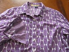 BODEN Sz 14 Fitted Purple Oval Long Sleeve Button Down Women's Shirt EUC