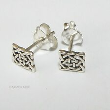 925 Sterling Silver Stud Earrings Square Celtic Knot Design New with Gift Bag