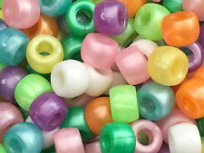 50  PEARL PONY BEADS multi colours  9 x 6 mm Loom bands hole size 3mm