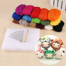160g 16 Colour Wool Felt Needles Tool Set + Needle Felting Mat Starter DIY Kit