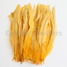 """50 pcs 8-10"""" long Gold Yellow Dyed Rooster COQUE tail Feathers for crafting, NEW"""