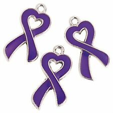 36 PURPLE Ribbon Relay for Life Metal Awareness Charms ADHD Cancer epilepsy