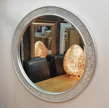 Round Crackle Design Wall Mirror Flat Frame Mosaic Glass 80x80cm Handmade Silver