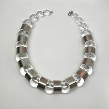 Spectacular MCM Vintage Mid-Century Pierre Cardin Lucite Silver Tone Necklace